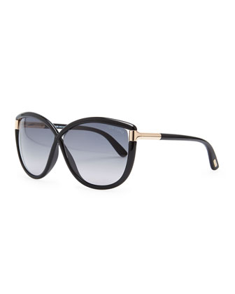 Abbey Oversized Cat-Eye Sunglasses, Black