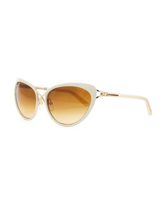 Daria Metal Cross-Front Cat-Eye Sunglasses, Ivory