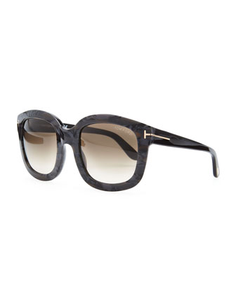 Cristophe Square Sunglasses, Black