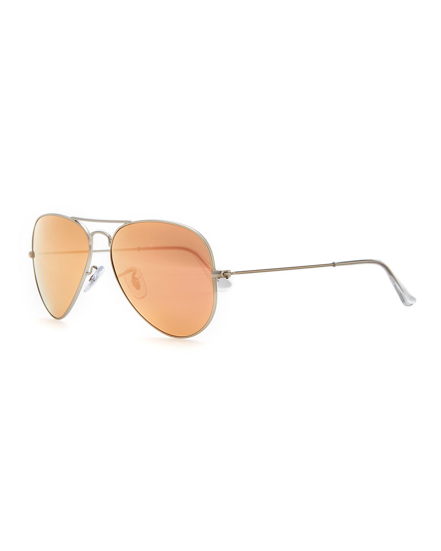Ray-Ban Aviator Mirrored Sunglasses, Brown/Pink
