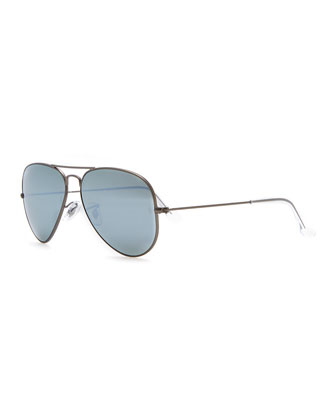 Aviator Mirrored Sunglasses, Green/Blue