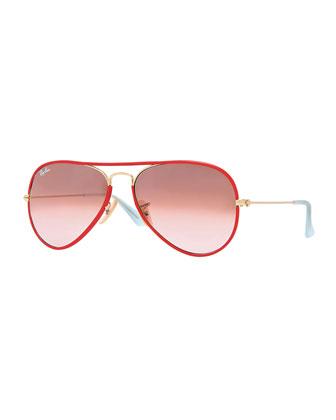 Aviator Gradient Sunglasses, Red