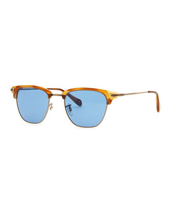 Banks Half-Rim Sunglasses, Light Brown
