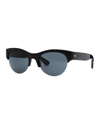 Louella Rimless Sunglasses, Black