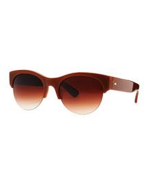 Louella Rimless Sunglasses, Beige
