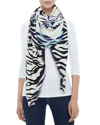 New Tiger Head & Stripes Scarf, Ivory/Black
