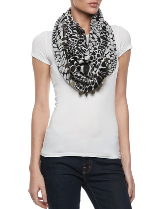 Animal Circle Infinity Scarf, Black/White