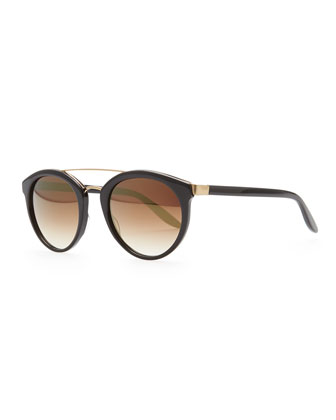 Dalziel Round Sunglasses with Metal Bar, Black/Gold