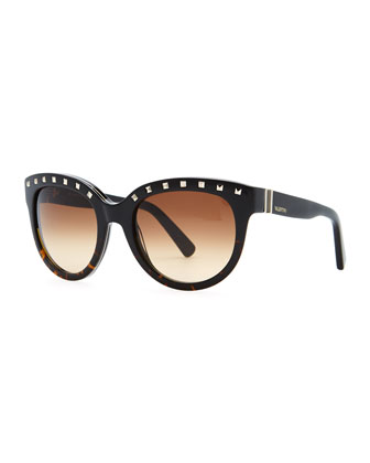 Rockstud-Brow Sunglasses, Black/Havana