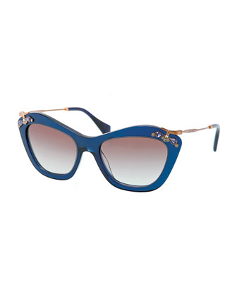 Crystal-Temple Cat-Eye Sunglasses, Blue