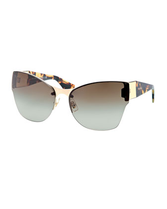 Wide-Temple Havana-Arm Sunglasses