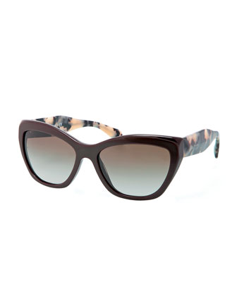 Wide Tortoise-Arm Sunglasses, Brown/Multi