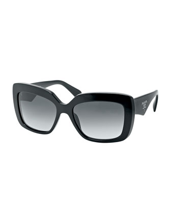 Square-Frame Logo Triangle Sunglasses, Black