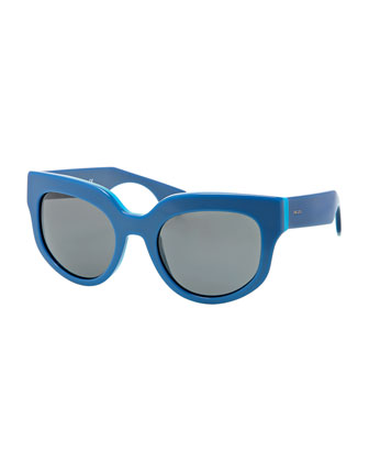 Thick Rounded Sunglasses, Blue Azure