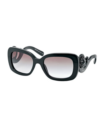 Baroque Rectangle Sunglasses, Black