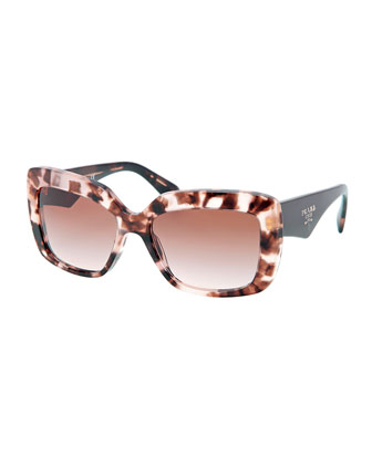 Square-Frame Logo Triangle Sunglasses, Brown/Multi
