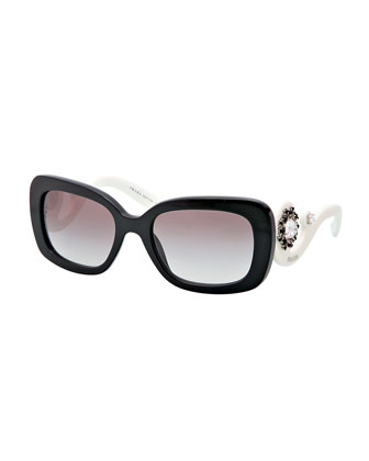 Baroque Rectangle Sunglasses, Black/White