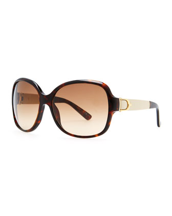 Leather-Arm Havana Sunglasses