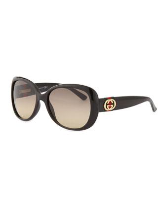 Shiny Half-Frame Sunglasses, Black/Purple