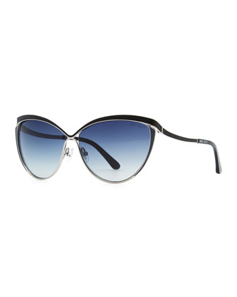 Polly Leather-Trim Cat-Eye Sunglasses, Ruthenium/Blue