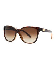 Square Gradient Sunglasses, Havana