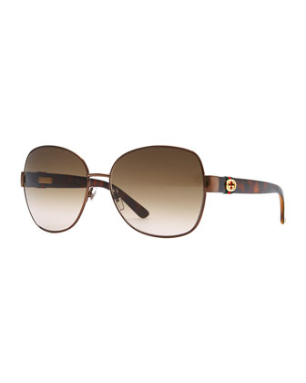 Metal-Rim Sunglasses, Brown