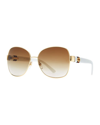 Metal-Rim Sunglasses, Gold