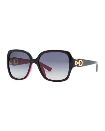 Diorissimo 1N Square Sunglasses, Black/Fuchsia