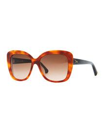 Promesse 2 Square Sunglasses, Havana/Pink