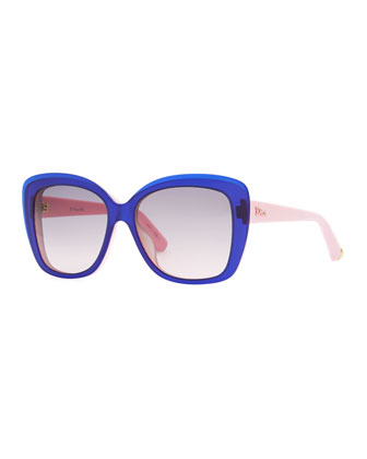 Promesse 2 Square Sunglasses, Navy/Pink