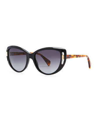 McQueen Cat-Eye Frames, Black/Havana