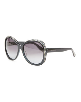 Crystal-Trimmed Sunglasses, Dark Gray