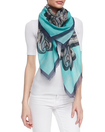 Paisley Printed Silk-Cotton Scarf with Border, Green/Multi