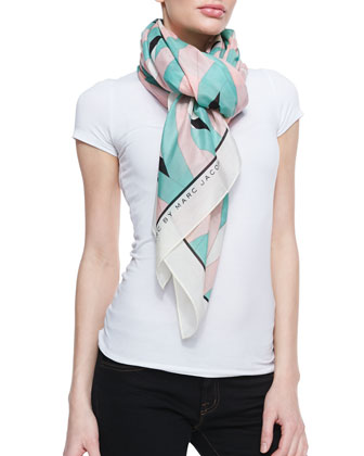Diamond Flame Print Scarf, Mint/Pink/Multi