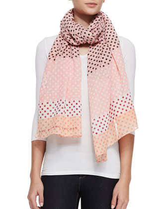 Block-Print Cotton Scarf, Pink/Multicolor