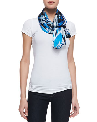 Ikat Printed Silk Satin Scarf, Cobalt/Multi