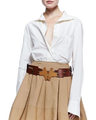 Button-Up Cotton Blouse, Full Pleated Scarf Skirt & Patchwork Puzzle Leather Belt