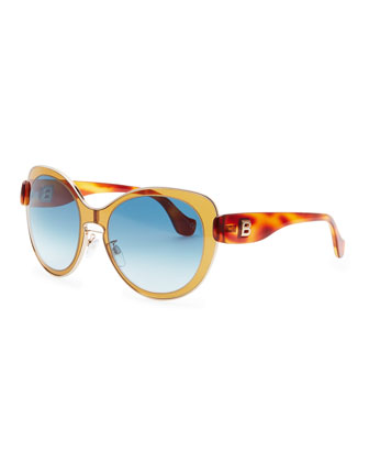 Rounded Sunglasses, Amber Brown/Rose Gold