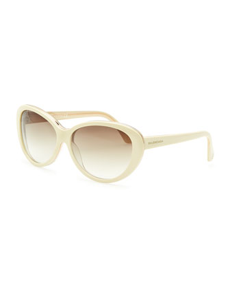 Oval Cat-Eye Sunglasses, Ivory/Crystal