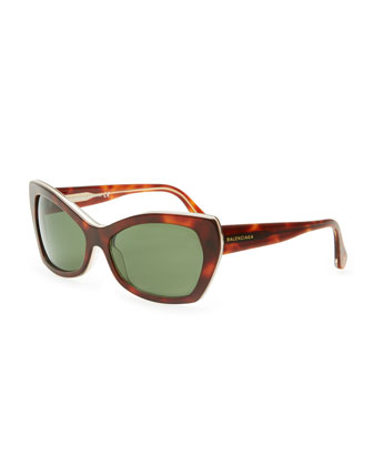 Rectangle Cat-Eye Sunglasses, Havana/Green