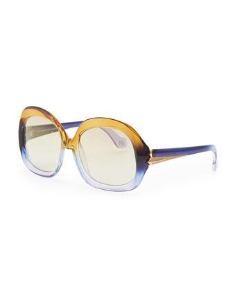 Oversized Square Sunglasses, Champagne/Violet