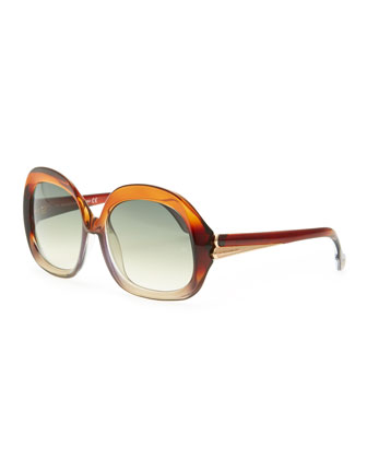 Oversized Square Sunglasses, Transparent Brown/Gray Gradient