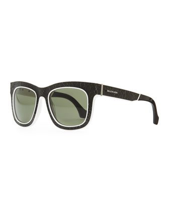 Cracked Square Sunglasses, Black/White