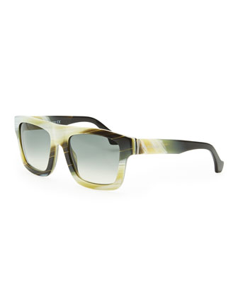 Square Straight-Brow Acetate Sunglasses, Yellow Faux Buffalo Horn
