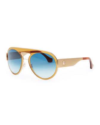 Transparent Aviator Sunglasses, Amber/Blue