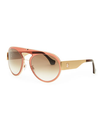 Transparent Aviator Sunglasses, Granate Rose/Brown