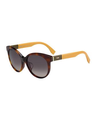 Striped-Temple Enamel Sunglasses, Havana Brown