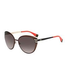 Striped-Temple Metal Sunglasses, Dark Brown