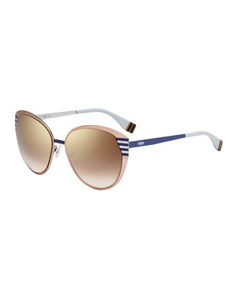Striped-Temple Metal Sunglasses, Peach