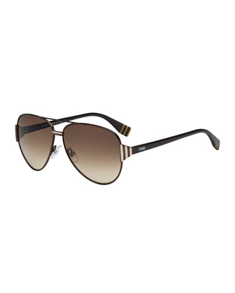 Striped-Temple Aviator Sunglasses, Dark Brown